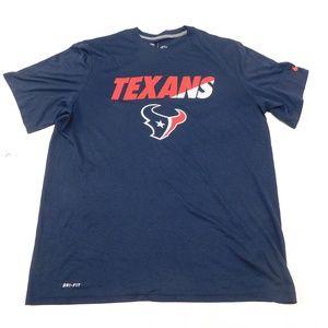 Nike Dri Fit Texans XL Navy Blue Crewneck Tee  Pol